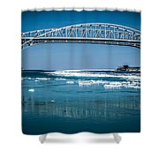 Blue Water Bridges With Reflection And Ice Flow Shower Curtain