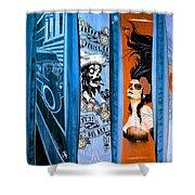 Bluesy Skateboard Art Shower Curtain