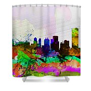 Buffalo Watercolor Skyline Shower Curtain