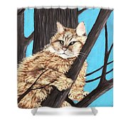 Cat On A Tree Shower Curtain