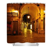 Clock Tower Venice Italy And The Path To Merceria Shower Curtain