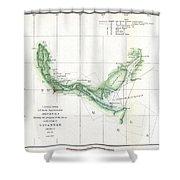 Coast Survey Chart Or Map Of The Savannah River Ans Savannah Georgia Shower Curtain