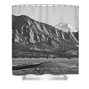 Colorado Rocky Mountains Flatirons With Snow Covered Twin Peaks Shower Curtain