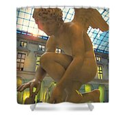 Cupid Playing With A Butterfly - Louvre Museum Paris Shower Curtain