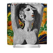Cyprus Map And Aphrodite Shower Curtain by Augusta Stylianou
