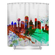 Dallas Watercolor Skyline Shower Curtain