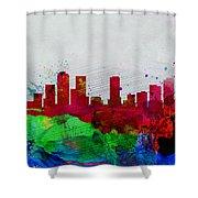 Denver Watercolor Skyline Shower Curtain