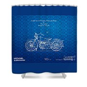 Design For A 1928 Harley Motorcycle Patent Shower Curtain