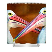 Dueling Pelicans Shower Curtain