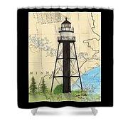 Duluth Harbor S Breakwater Inner Lighthouse Mn Nautical Chart Art Shower Curtain