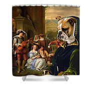 English Bulldog Art Canvas Print - The Garden Party Shower Curtain