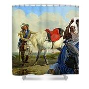 English Springer Spaniel Art Canvas Print Shower Curtain
