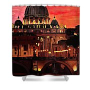 Eternal City  Rome St Peter Vatican At Dusk Shower Curtain