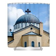 Exterior Of  Holy Trinity Gree Shower Curtain