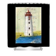 Faulkner Island Lighthouse Ct Nautical Chart Map Art Shower Curtain