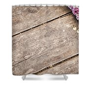 Flower Frame On On Wood Background Shower Curtain