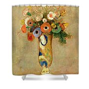 Flowers In A Painted Vase Shower Curtain by Odilon Redon