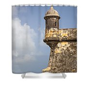 Fortified Walls And Sentry Box Of Fort San Felipe Del Morro Shower Curtain by Bryan Mullennix