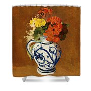 Geraniums And Other Flowers In A Stoneware Vase Shower Curtain