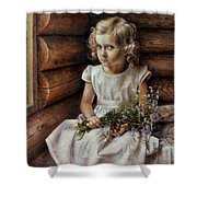 Girl With Wild Flowers Shower Curtain