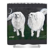 Great Pyrenees Dogs Night Sky Cathy Peek Animal Art Shower Curtain
