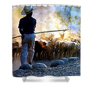Herder Going Home In Mexico Shower Curtain