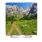 Hiking In Contrin Valley Shower Curtain