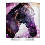 Horse In The Small Magellanic Cloud Shower Curtain by Anastasiya Malakhova