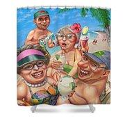 Humorous Snowbirds On Vacation - Senior  Citizen Citizens - Beach - Illustration  Shower Curtain
