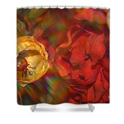 Impressionistic Bouquet Of Red Flowers Shower Curtain