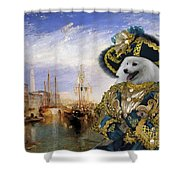 Japanese Spitz Art Canvas Print Shower Curtain