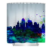 Kansas City Watercolor Skyline Shower Curtain