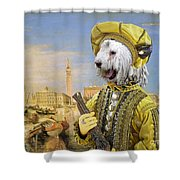 Komondor Art Canvas Print Shower Curtain