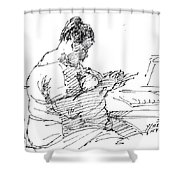 Lady On Smartphone  Shower Curtain