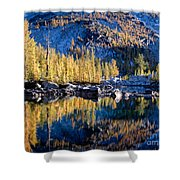 Larch Tree Reflection In Leprechaun Lake Shower Curtain