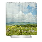 Large Blueberry Field With Mountains And Blue Sky In Maine Shower Curtain by Keith Webber Jr