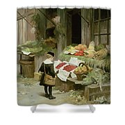 Little Boy At The Market Shower Curtain