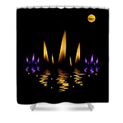 Lotus On Fire In The Dark Night Shower Curtain