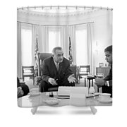 Lyndon Baines Johnson 1908-1973 36th President Of The United States In Talks With Civil Rights  Shower Curtain by Anonymous