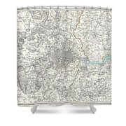 Map Of London And Environs Shower Curtain