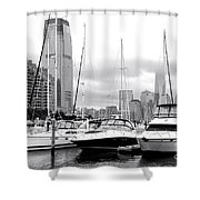 Marina In Black And White Shower Curtain