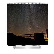 Milky Way Behind The Gate Shower Curtain