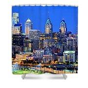Philadelphia Skyline At Night Evening Panorama Shower Curtain