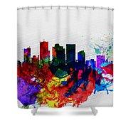 Phoenix Watercolor Skyline 2 Shower Curtain
