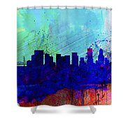 Portland Watercolor Skyline Shower Curtain