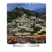 Positano Crowded Beach Shower Curtain