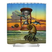 Prehistoric Animals - Beginning Of Time Beach Sunrise - Hourglass - Sea Creatures Square Format Shower Curtain