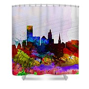 Providence Watercolor Skyline Shower Curtain