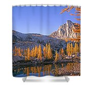 Prusik Peak Behind Larch Trees Shower Curtain