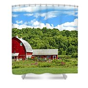 Red Farmstead In Summer Shower Curtain